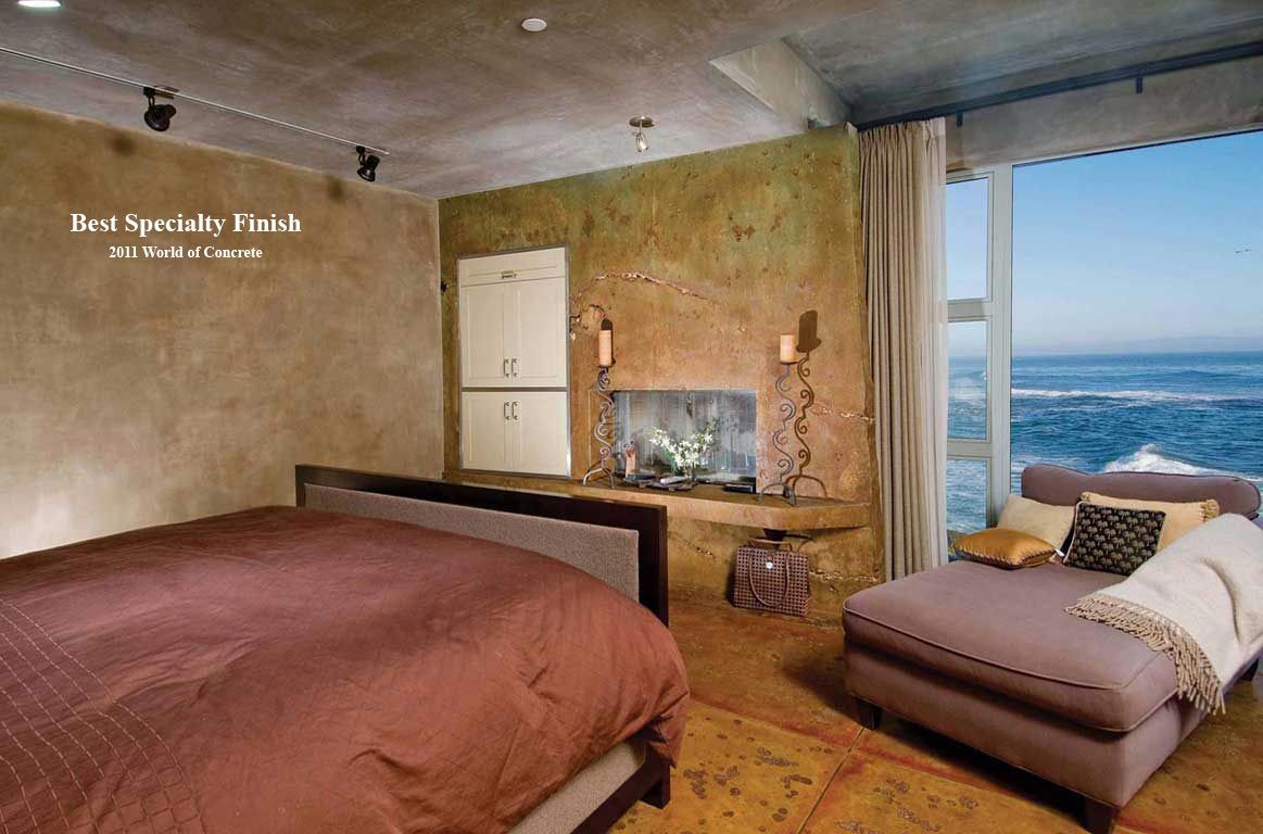 Decorative Concrete Bedroom Walls, Fireplace Rockview
