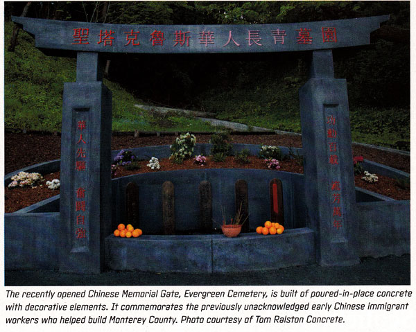 August 2014 Profiles in Decorative Concrete and the Evergreen Chinese Memorial