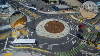 Santa Cruz Beach Boardwalk Decorative Concrete Roundabout